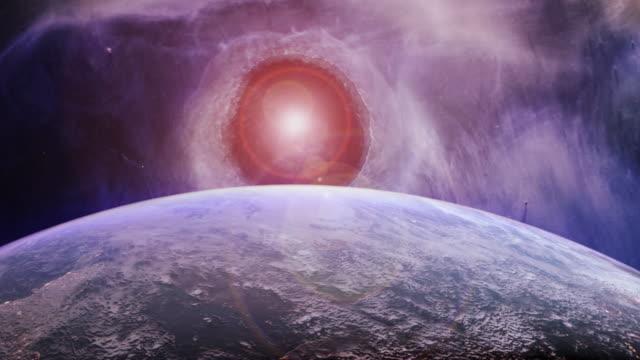 rotating earth in a futuristic purple universe - czarna dziura filmów i materiałów b-roll