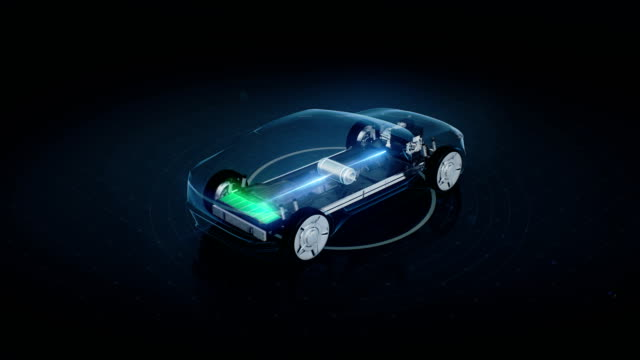 Rotating Electronic, hybrid, lithium ion battery echo car. charge battery, inside view, 4k movie. Rotating Electronic, hybrid, lithium ion battery echo car. charge battery, inside view, eco-friendly future car. 4k movie. vehicle part stock videos & royalty-free footage