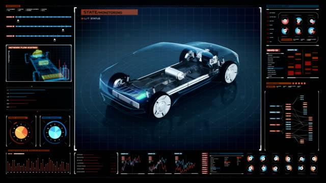 вращающийся электронный, гибридный, литий-ионный аккумулятор эхо автомобиля. заряд батареи, внутреннее представление в интерфейсе цифрово - моторное транспортное средство стоковые видео и кадры b-roll