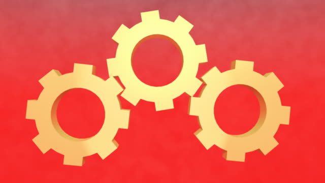Rotating Gears on Red background video