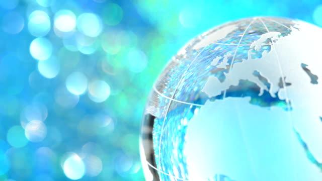 Rotating glass globe - Europe & North America video