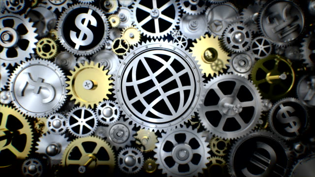 Rotating Global earth in gear unit with various world currency sign. Rotating currency in gear unit with various currency sign european union currency videos stock videos & royalty-free footage
