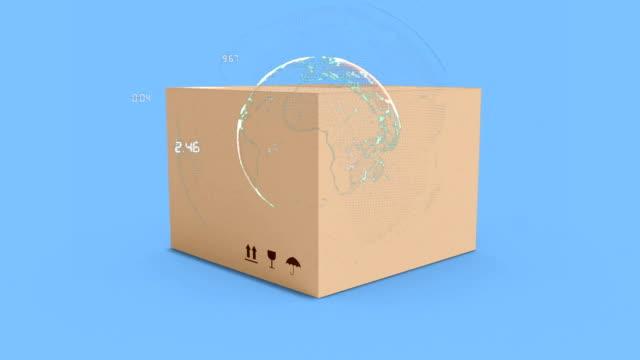 vídeos de stock e filmes b-roll de rotating globe and opening box on blue background - cardboard box