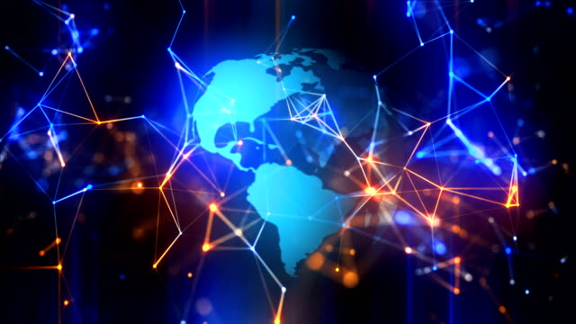Rotating globe technology, business and communications loopable background with connections