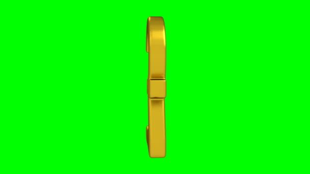 color oro girevole sterlina simbolo su sfondo schermo verde - simbolo della sterlina video stock e b–roll