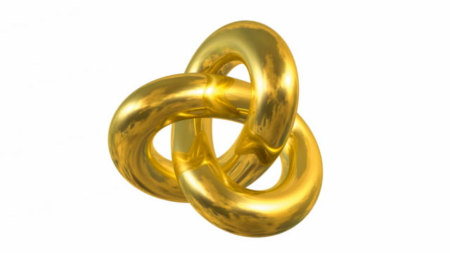 Rotating Golden Gordian Knot Sign isolated on white background video