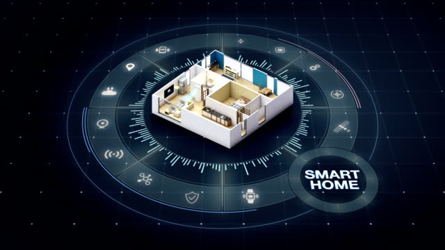 Rotating House design, smart home, around various internet of things home appliances icon. House design, smart home, around various internet of things home appliances icon. home icon stock videos & royalty-free footage