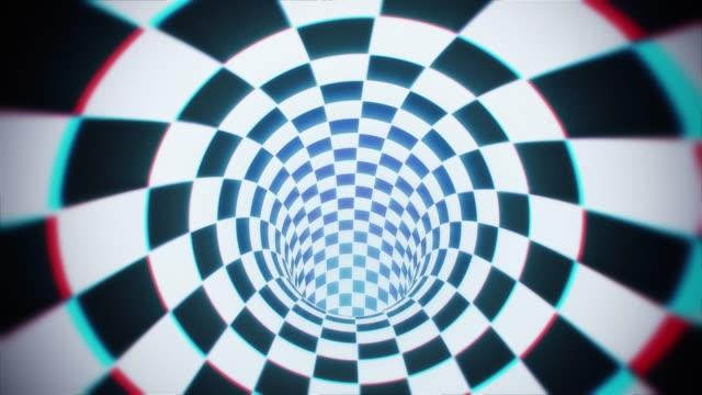 rotierende hypnotische karierten tunnel - karo stock-videos und b-roll-filmmaterial