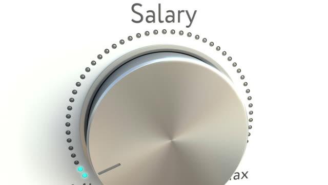 roterande knopp med löne inskription. konceptuellt fullhd-klipp - lön bildbanksvideor och videomaterial från bakom kulisserna
