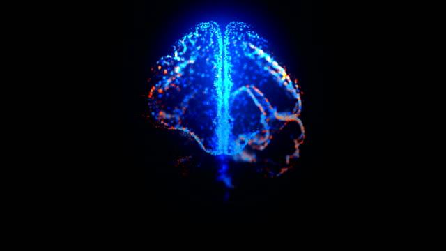 光る粒子を持つ人間の脳の回転mriスキャンは、青とオレンジのループ可能な薬の映像 - mri検査点の映像素材/bロール
