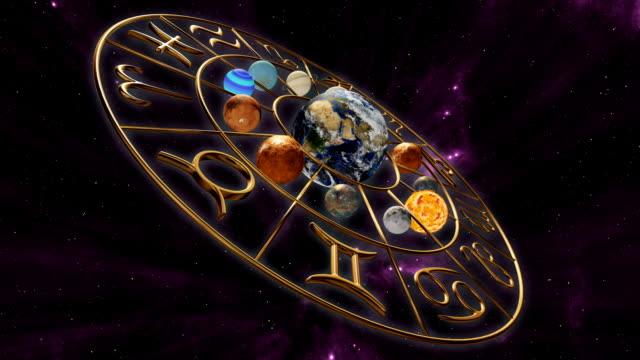 vídeos de stock e filmes b-roll de rotating mystic astrology zodiac horoscope symbol with twelve planets in cosmic scene. 3d rendering - astrologia