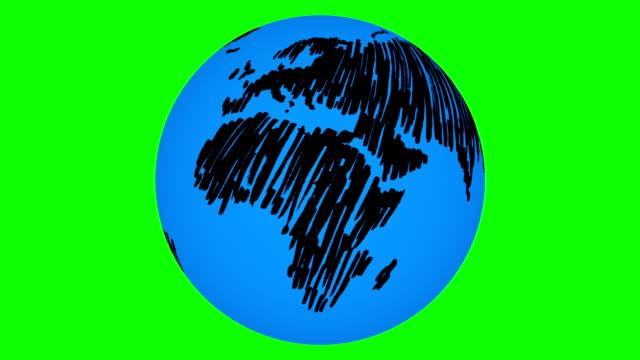 vídeos de stock e filmes b-roll de terra girar pintado - green world