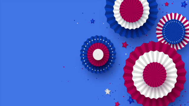 rotating paper fun in colors of american flag. - luglio video stock e b–roll