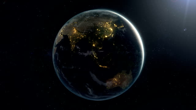 Rotating photorealistic earth by Night (Loop) video