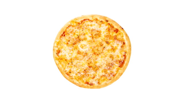 Rotating pizza margarita isolated on a white background. Top view video
