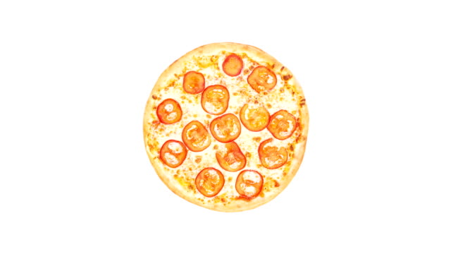 Rotating pizza margarita with tomato slices isolated on a white background. Top view video