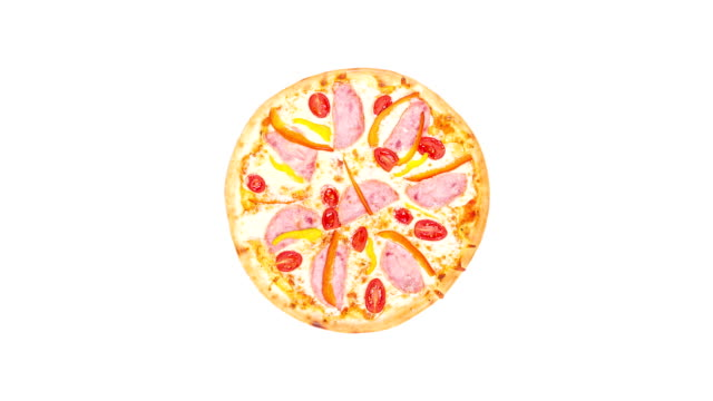 Rotating pizza with ham sweet peppers and tomatoes isolated on a white background. Top view video