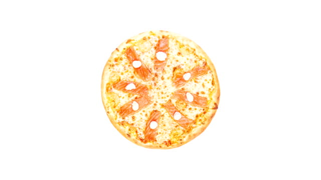 Rotating pizza with salmon and Philadelphia cheese isolated on a white background. Top view video