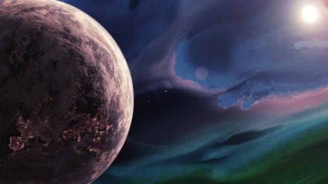 rotating planet earth in a futuristic purple universe - układ słoneczny filmów i materiałów b-roll