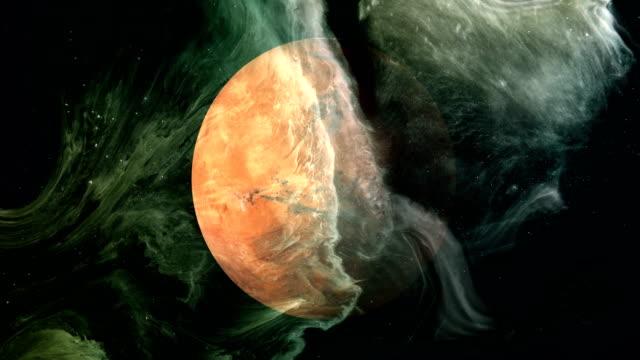 obracająca się planeta mars w kosmosie z czarną dziurą - nowe życie filmów i materiałów b-roll