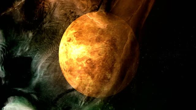 rotating planet venus in space with black hole - venus filmów i materiałów b-roll