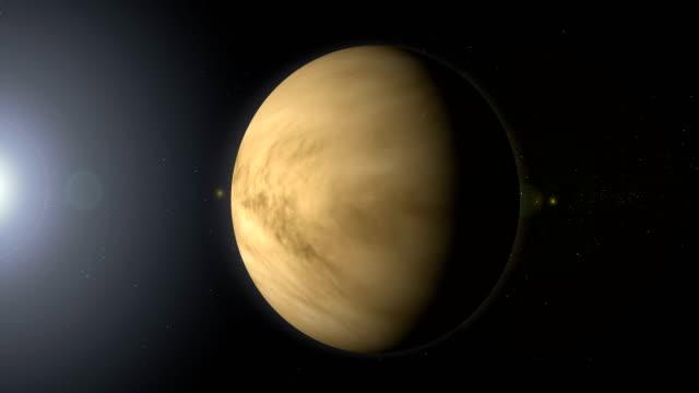 블랙홀과 공간에 회전 행성 금성 - 분위기 스톡 비디오 및 b-롤 화면