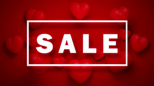 Rotating Red Hearts With White Sale Text On Red Background In 4K Resolution