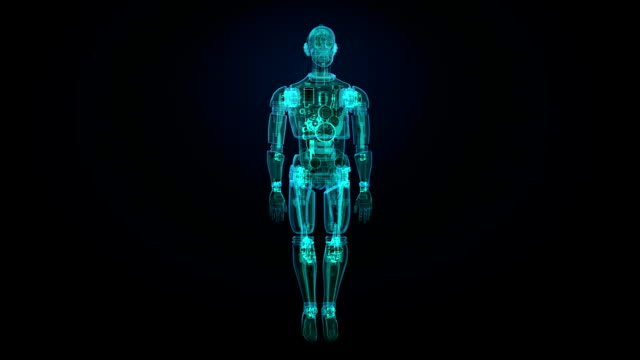 Rotating semitransparency 3D robot body, X-ray scan in digital interface. video