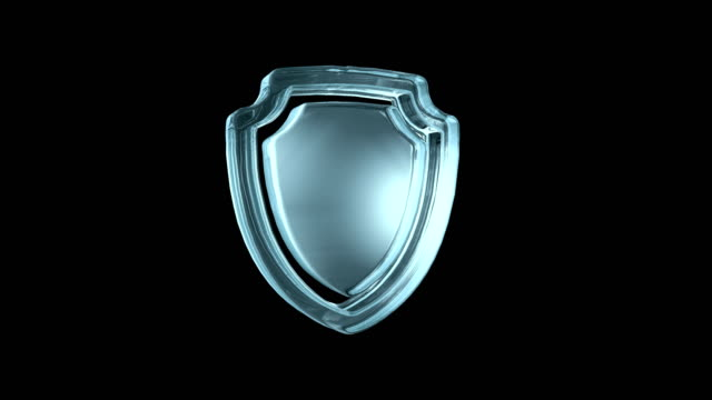 rotating sign of defense and security. transparent glass icon - логотип стоковые видео и кадры b-roll