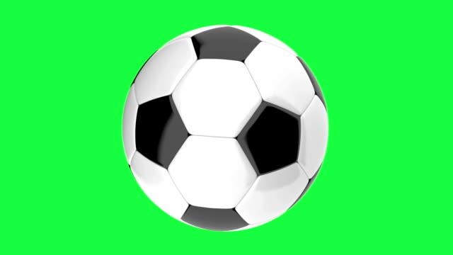 Rotating Soccer ball looped animation on a green background video