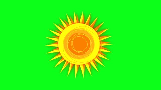 obracanie słońce na zielonym - film animowany filmów i materiałów b-roll