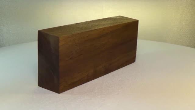 Rotating the block of wood walnut
