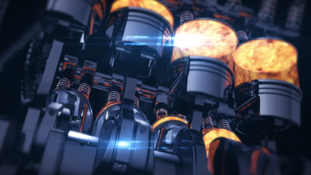 rotating v8 engine 3d animation with explosions - turbina video stock e b–roll