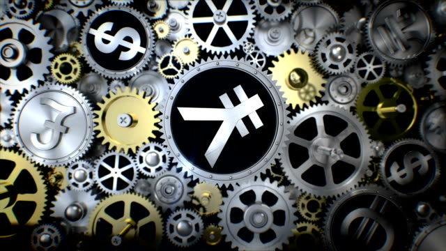 Rotating Yen currency in gear unit with various currency sign. video