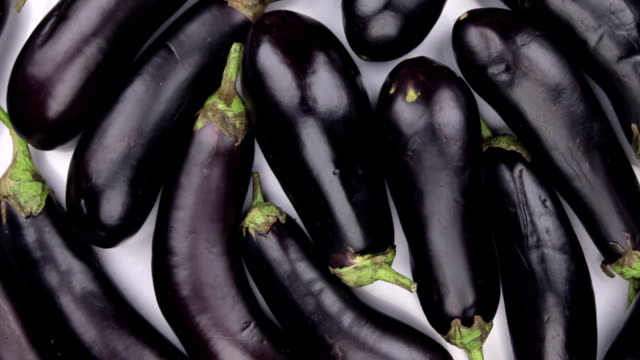 rotation close-up, the background of violet eggplant. - melanzane video stock e b–roll