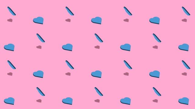 rotation herzen flach icons hintergrund - kind isometric stock-videos und b-roll-filmmaterial