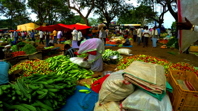 rotation timelapse India of vegetable market video