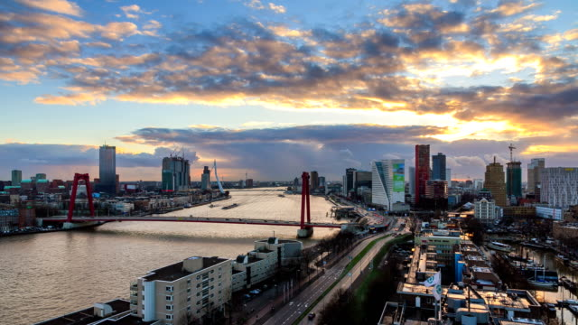 rotterdam 4k skyline timelapse - dutch architecture stock videos & royalty-free footage