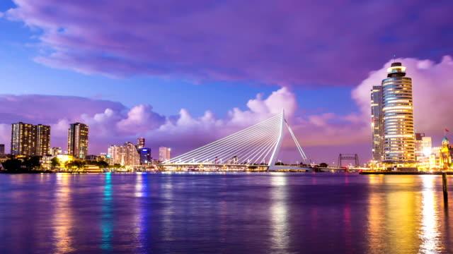 rotterdam skyline at night - shipping sunset bildbanksvideor och videomaterial från bakom kulisserna