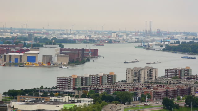 rotterdam skyline, industrial harbor, time lapse - rotterdam video stock e b–roll