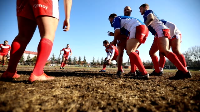 Rough rugby game Young and strong rugby team on the field, rough group training. rugby stock videos & royalty-free footage