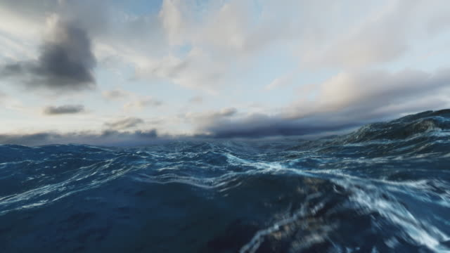 Rough Sea Loop II. Seamless Loop. Animation loop of big waves in an agitated ocean. Camera goes underwater several times. New version, even more realistic with higher quality textures and liquid physics. deep stock videos & royalty-free footage