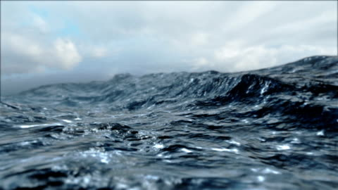 Rough Sea Loop 3D animation of big waves in an agitated ocean. Camera goes underwater several times. Seamless loop. high up stock videos & royalty-free footage