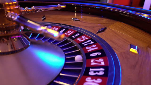 Roulette Wheel in a casino - ball on field 6 black video