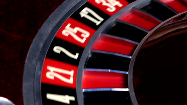 Roulette wheel running and stops with fallen white ball video