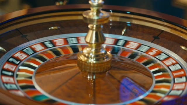 Roulette wheel spinning in the casino video