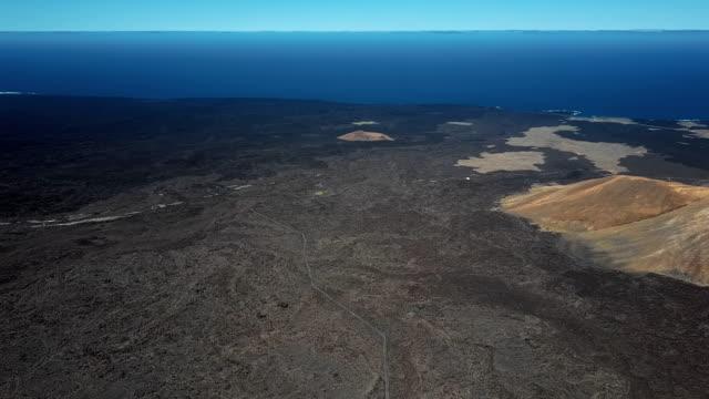 Round aerial panorama made near Timanfaya National Park, Lanzarote, Canary islands, Spain video