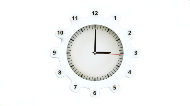 Round clock and gears. Loop ready animation of moving clock hands. eternity stock videos & royalty-free footage