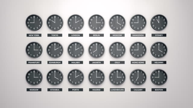 Round Clocks Show Different Time Zones On White Wall. Loopable Clock Face Timelapse Round Clocks Show Different Time Zones On White Wall. Loopable Clock Face Timelapse 60 Fps Animation. time zone stock videos & royalty-free footage