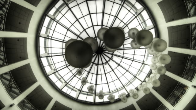 round glass roof. looking up - black and white architecture stock videos & royalty-free footage